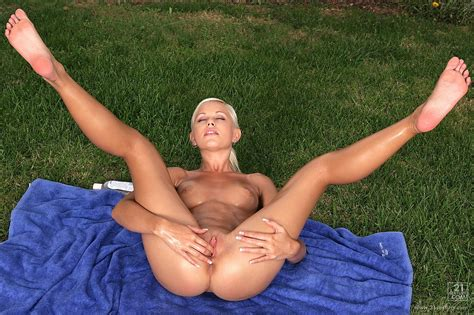 Hot Oiled Blonde Lola Myluv Posing And Masturbating Outdoor My Pornstar Book