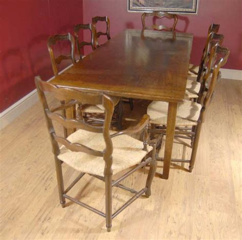 oak ladderback chair refectory table set dining