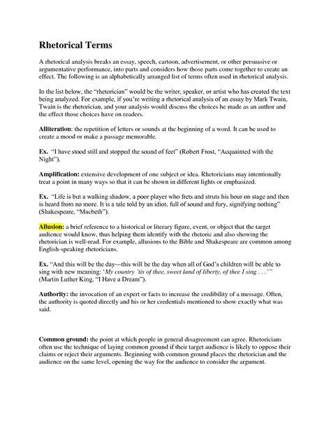 I A Speech Essay Analysis speech analysis template rhetorical terms a