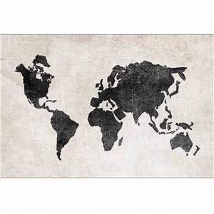 Buy Hand Painted Earth World Map Canvas Art White Blue ...