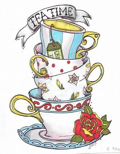 Alice Wonderland Stacked Teacup Tea Cup Teacups