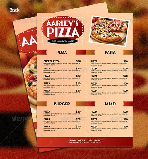 Menu Brochure Template Word by Pizza Menu Templates 31 Free Psd Eps Documents