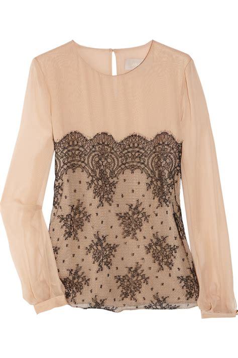 lace blouse jason wu silk chiffon and lace blouse in pink blush lyst