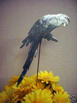 parrot macaw tropical bird metal yard art garden stake ebay
