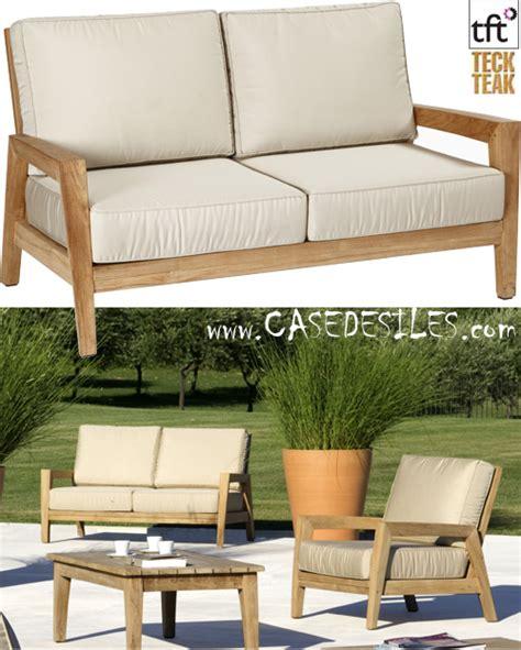 canapé bas canapé bas teck design de jardin 2 pl 5001