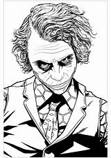 Joker Coloring Heath Ledger Pages Adults Batman Printable Adult Movies Villain Dark Harley Quinn Knight Movie Infamous Drawings Sheets Drawing sketch template