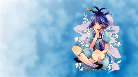 Touhou Blue Eyes Blue Hair Short Hair Anime Photoshop