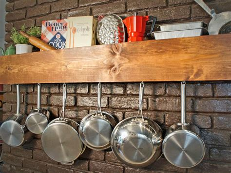 Wall Pot Racks, Diy Pot Rack Kitchen Storage And Shelf