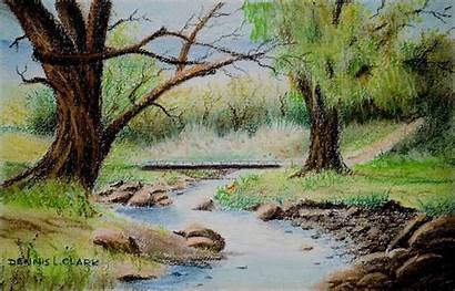 Stream Pastel Draw Drawing Class River Landscape