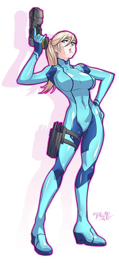 Samus Aran Zero Suit Metroid Series Artwork By Azure