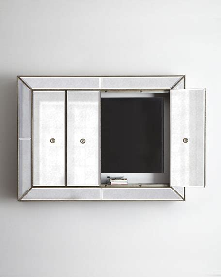 Tv Wall Cabinets For Flat Screens With Doors by Venetian Style Mirrored Flat Screen Tv Wall Cabinet