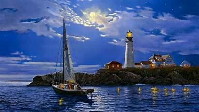 Lighthouse Sailboat Painting Wallpapers Wallpaperup