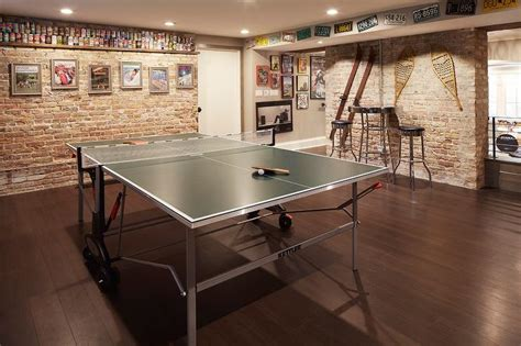 basement man room  ping pong table contemporary