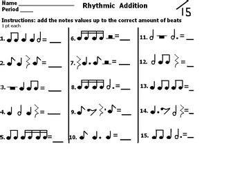 rhythmic addition worksheet  images addition