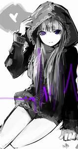 grey hair - heart - hood - long hair - purple