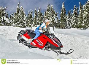 Woman riding a snowmobile stock photo. Image of rider ...