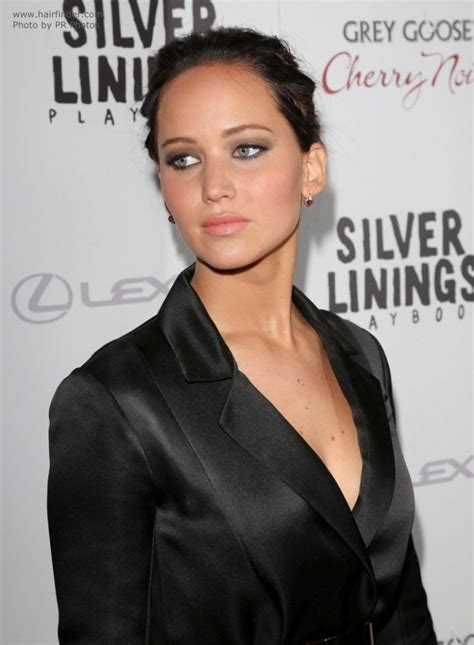 jennifer lawrence dark brown hair   bun  enjoy