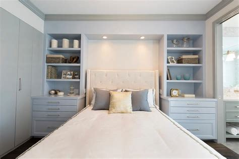 Headboard With Built In Nightstands by Ivory Wingback Tufted Headboard Flanked By Gray Built In