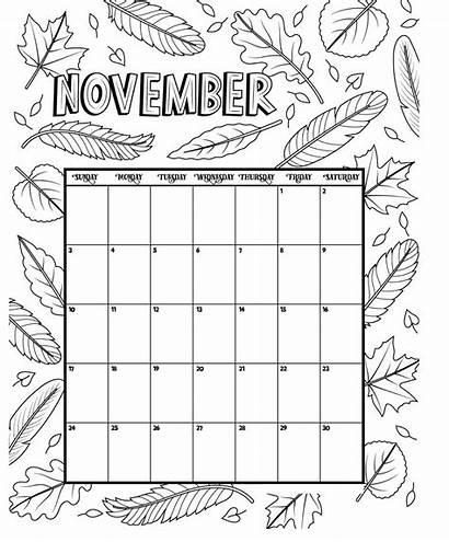 Calendar November Coloring Printable Pages Template Kindergarten