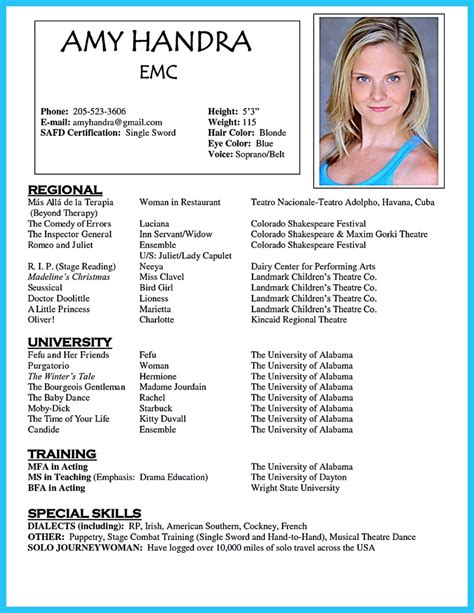Resume For Actors by Outstanding Acting Resume Sle To Get Soon
