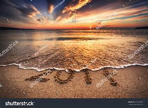 Happy New Year 2017 Concept, Lettering On The Beach Stock ...