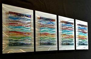 Contemporary glass wall art fused metal