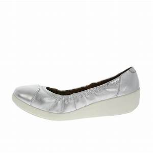FF2™ By FitFlop™ F-Pop™ Silver Leather Ballerina Shoes