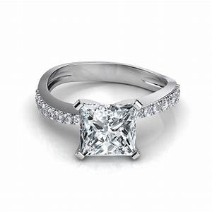 Tapered pave princess cut engagement ring for Pave wedding rings