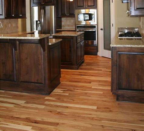 hardwood floors with kitchen cabinets sophisticated and urbane rustic hickory cabinets 8376