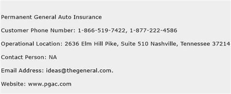 Permanent General Auto Insurance Customer Service Phone