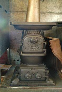 details  antique caboose stove railroad wood coal