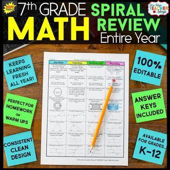 grade math spiral review resource  easily