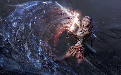 Download Wallpaper 1920x1200 Fantasy Girl Use A Lightsaber