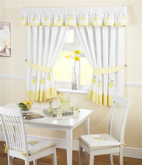 uk kitchen curtains lemons kitchen curtains white yellow free uk delivery