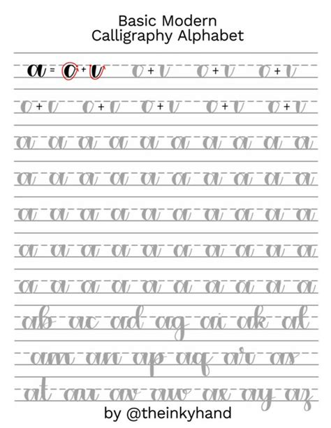 basic modern calligraphy practice sheets  theinkyhand