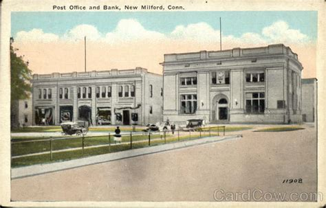 Post Office And Bank New Milford, Ct Postcard