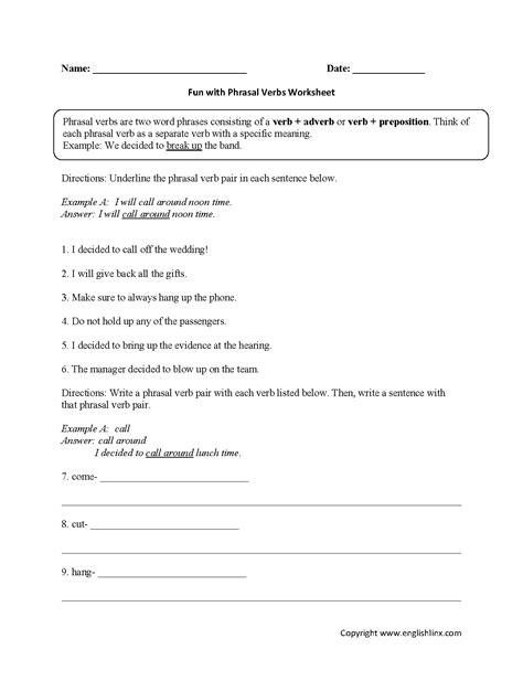phrasal verbs worksheets for grade 3 verb worksheets for grade 3 pdf worksheet exle
