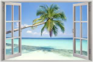 huge 3d window exotic beach view wall sticker mural art