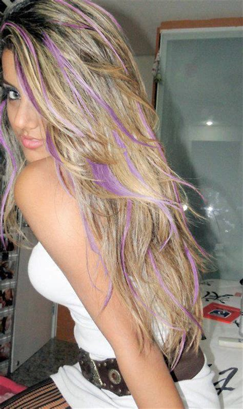 Light Blonde Hair With Purple Highlights 2012