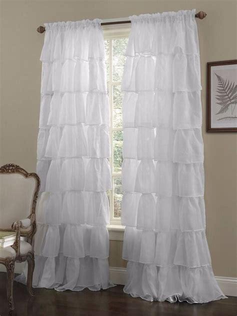 Ruffle Drapes - 1 pc white shabby crushed voile sheer chic ruffle curtain