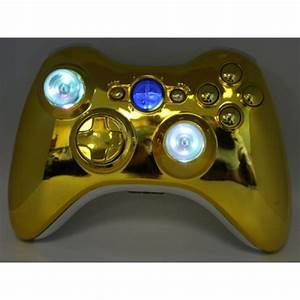 Gold Lighted Guide And Thumbstick Modded Controlle W  Rapid
