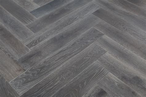 Smoked & Brushed Grey Oiled Oak Herringbone Flooring