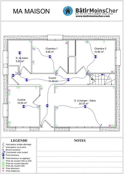 plan electrique chambre plan electrique maison circuit de 5 les en partant du