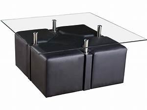 Table Basse 4 Poufs : table basse sophia 4 poufs 102 x 102 x 45 cm noir 69852 ~ Teatrodelosmanantiales.com Idées de Décoration