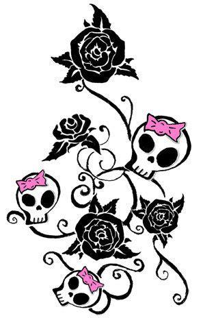 black rose flowers  skull tattoos designs