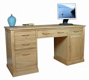 Mobel Oak Twin Pedestal Computer Desk Study Furniture