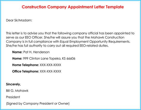 company appointment letters  samples examples formats