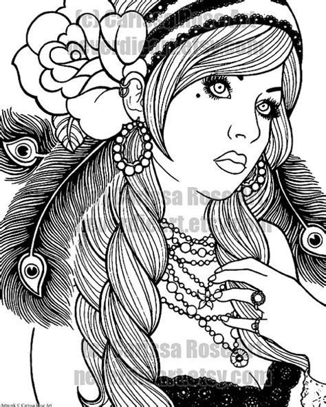 gypsy girl coloring book page  carissa rose    high resolution printable file