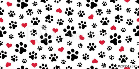 dog paw seamless pattern vector heart isolated scarf