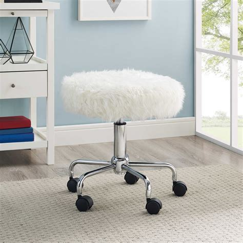 white fur office chair rolling swivel stool faux fur white metal frame